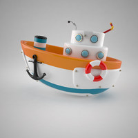 x cartoon boat