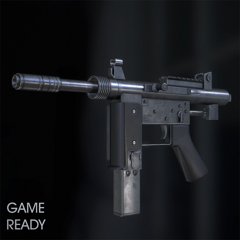 3d model floro mp-9 submachine gun