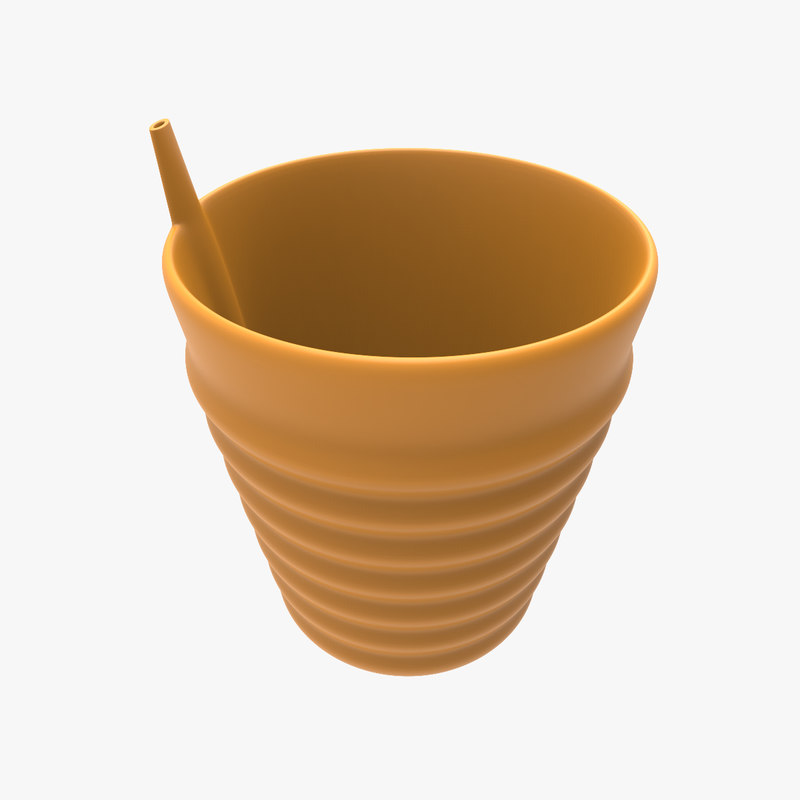 3d glass drinking straw model