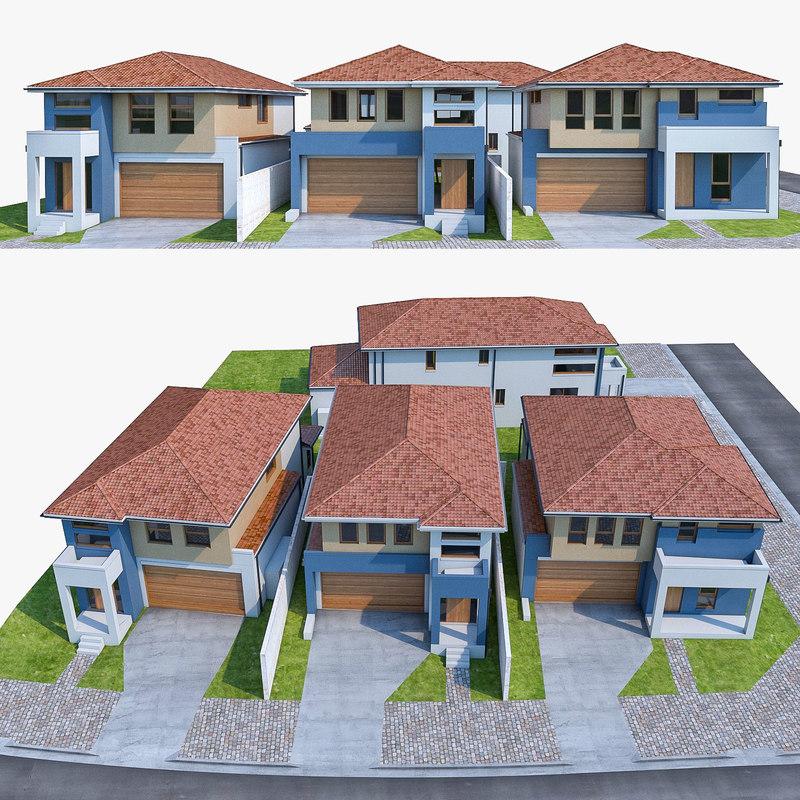 3d model 4 neighborhood houses set