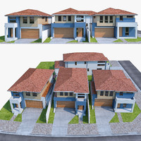 3d model 4 neighborhood houses set