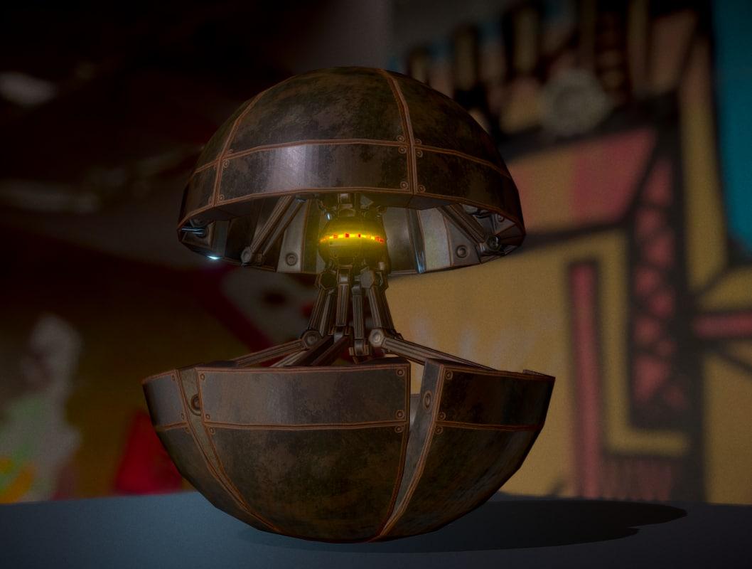 3d rusty version sphere bot