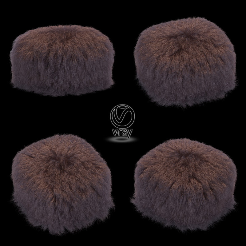 hair fur pouf brown 3d max