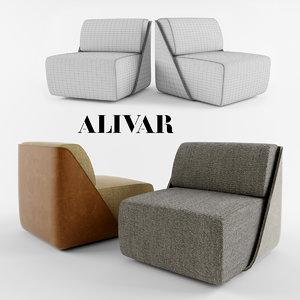 alivar lagoon armchair lounge chair 3d model