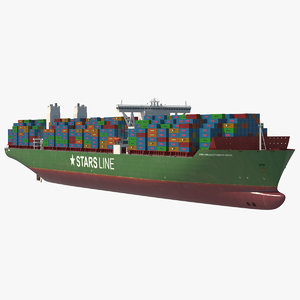 3d model large container ship