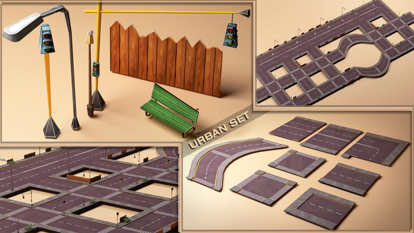 3d model urban set street road