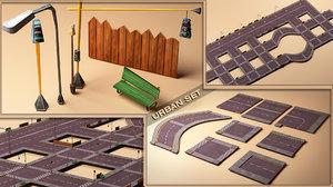 3d model urban set street road