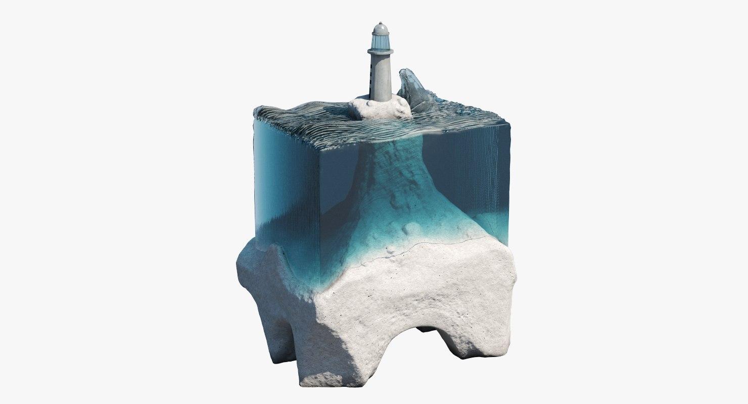 3d glass concrete sculpture