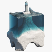 3d glass concrete sculpture