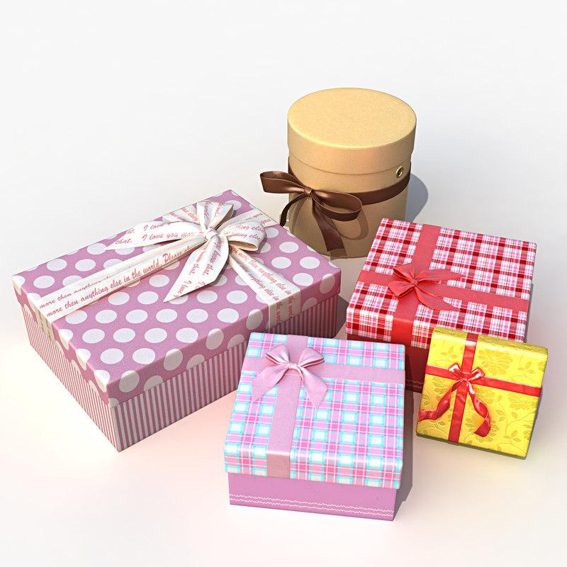 set gift boxes 3d model