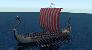 3d model viking boat