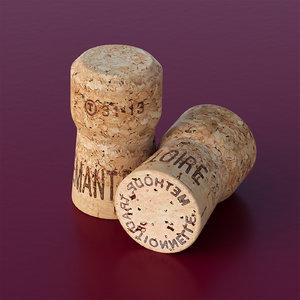 champagne cork 3d c4d