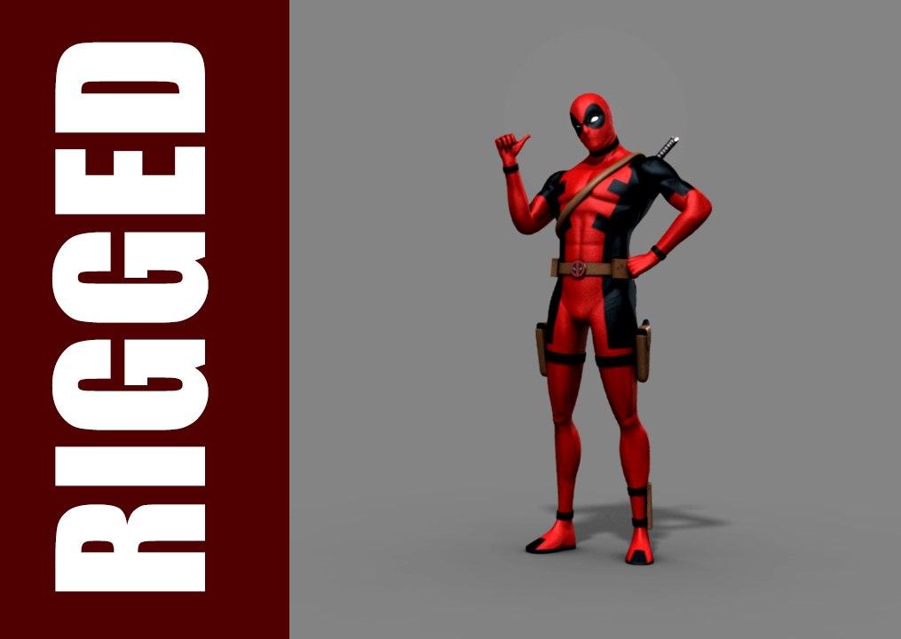 deadpool rig character 3d model