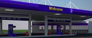 original gas station 3d obj
