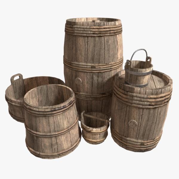 3d hoops barrels pack pbr model