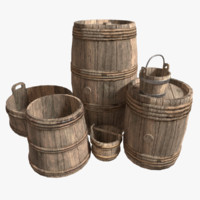 3d hoops barrels pack pbr model