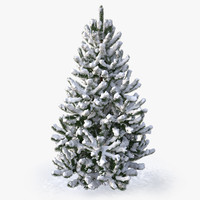 3d model of snowy pine tree