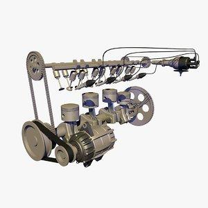 3d model realistically cylinder car engine
