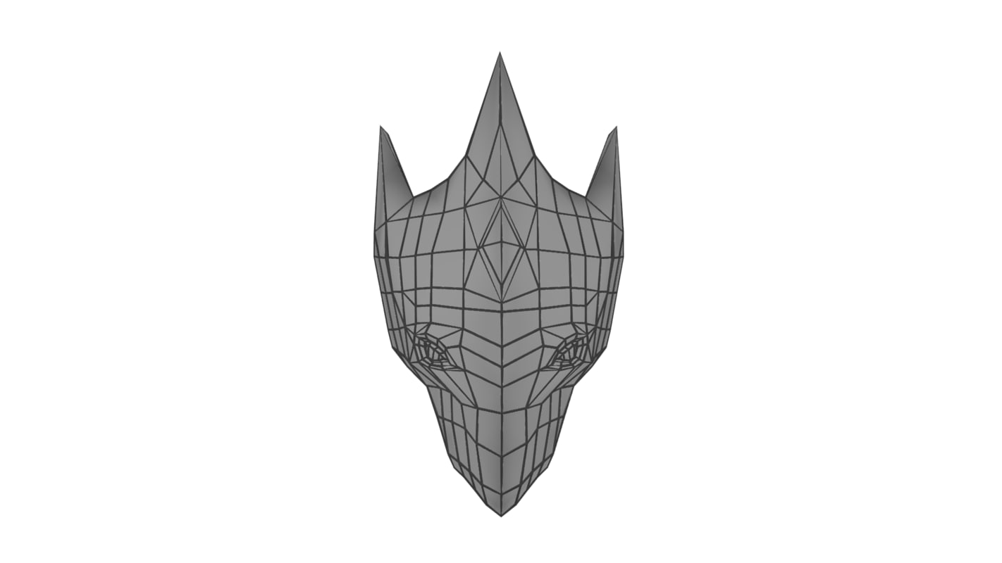 3d low-poly mask helmet