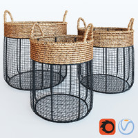 Iron Wire Round Scoop Baskets With Seagrass