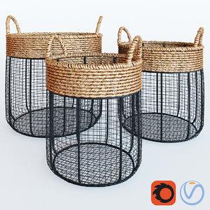 3d iron seagrass baskets model
