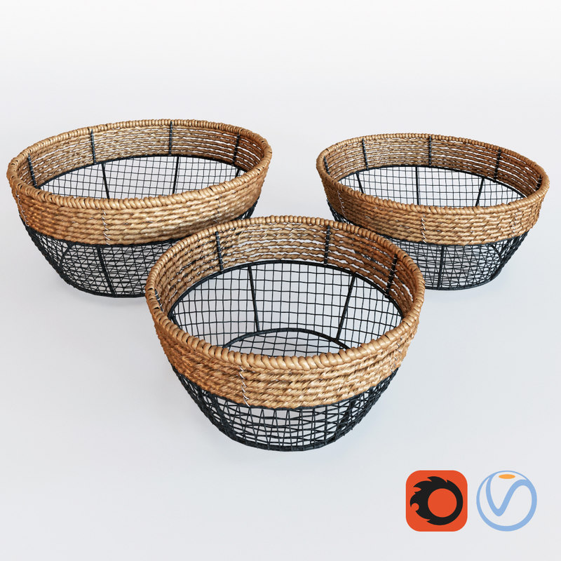 Black Iron Wire Round Wide Mouth Basket With Seagrass