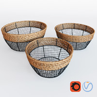 Black Iron Wire Round Wide-Mouth Basket With Seagrass