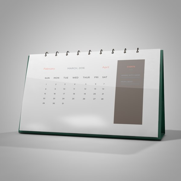 3d calendar turn pages model