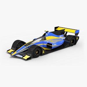 low-poly future formula 3d model