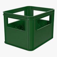 3d model of plastic bottle crates green