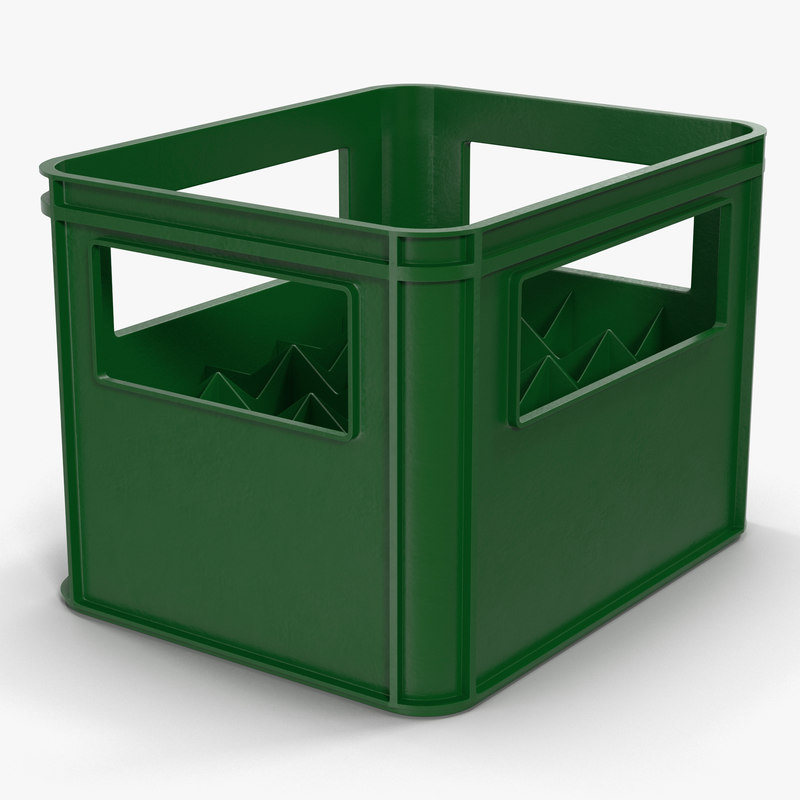 3d model of plastic bottle crates green