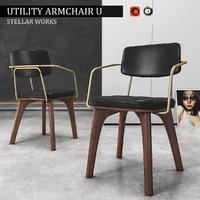 3d chair utility armchair u