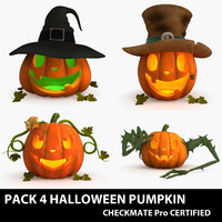 halloween pumpkin pack 3d model