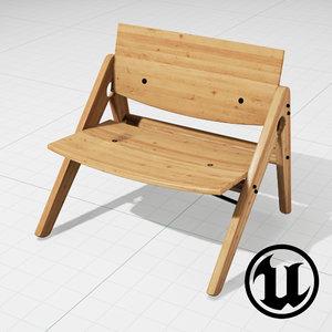 unreal wood komplett lounge chair 3d model