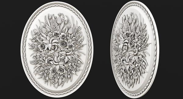 panel flower 3d model