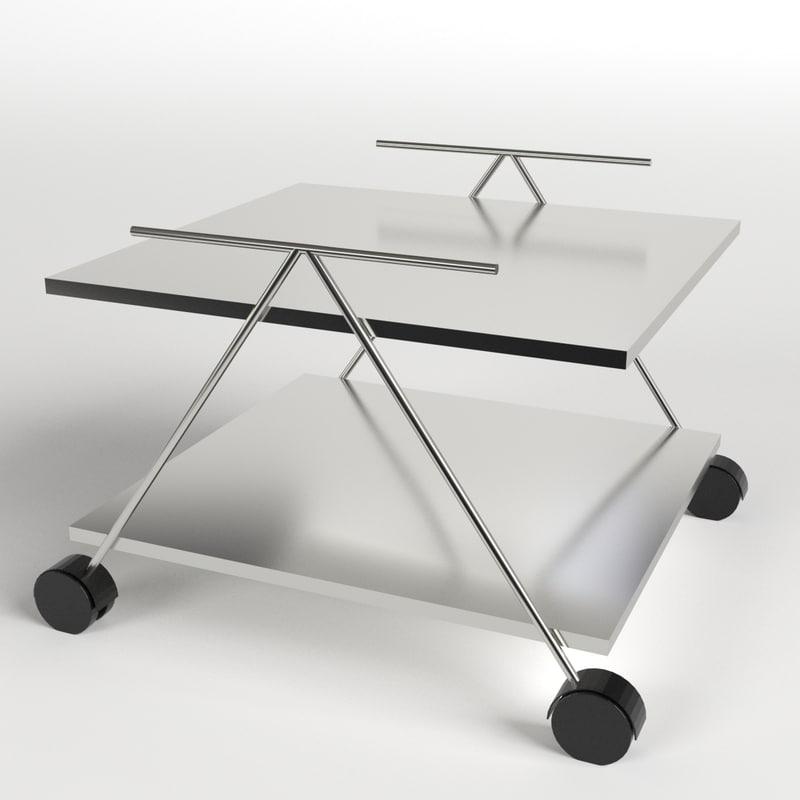 3d food trolley beverage cart model