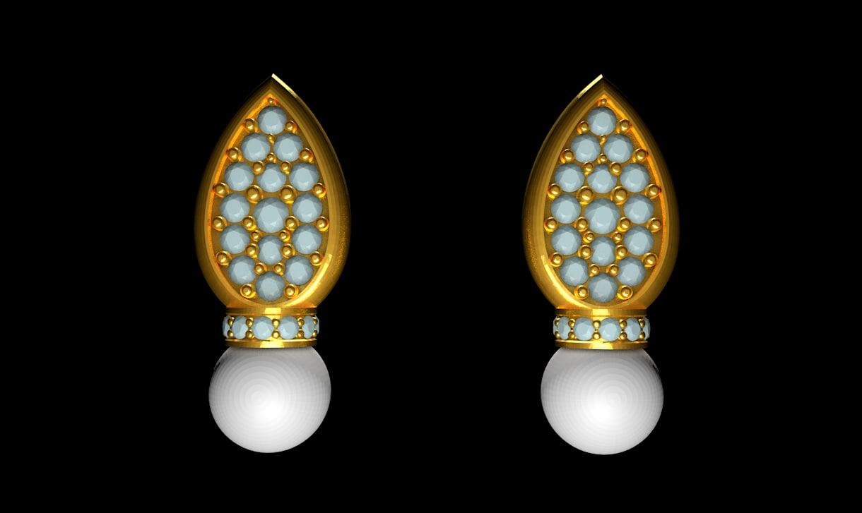 pearl earring 3d model