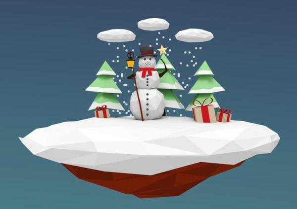 winter snowman scenery 3d 3ds
