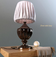 Table lamp made of stone