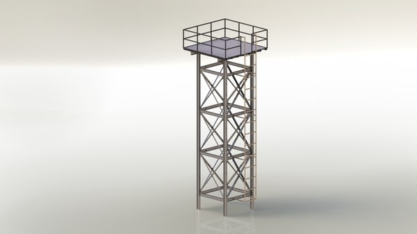 3d steel structure support water tanks model