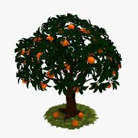 3d tree orange