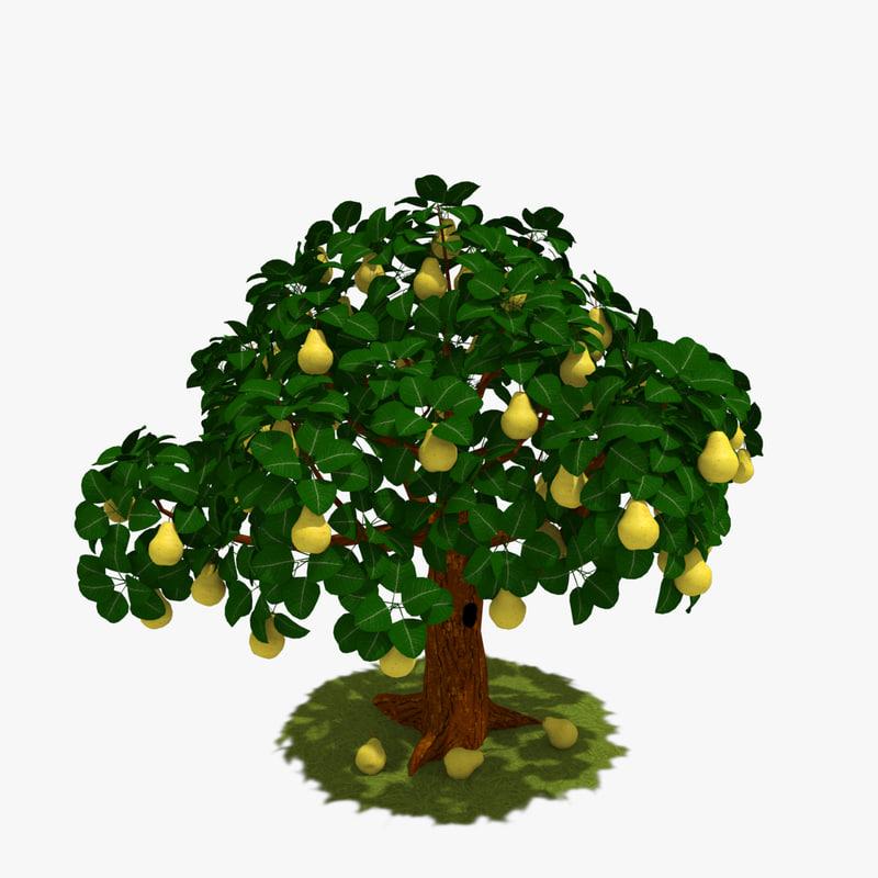 3d pear tree model