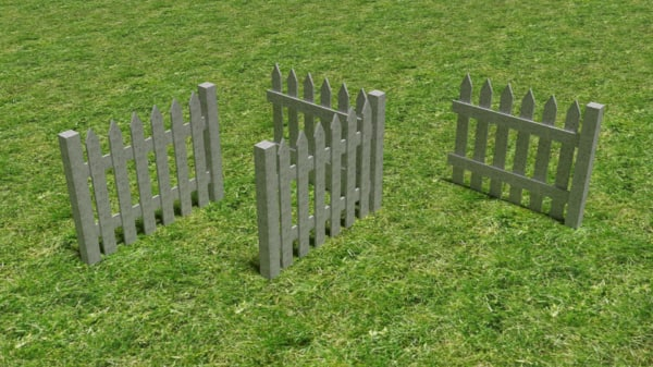 free obj model white picket fence