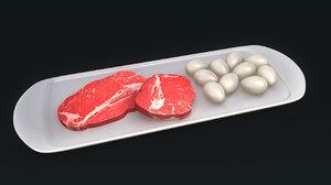 meat eggs obj