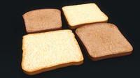 bread slices 3d obj