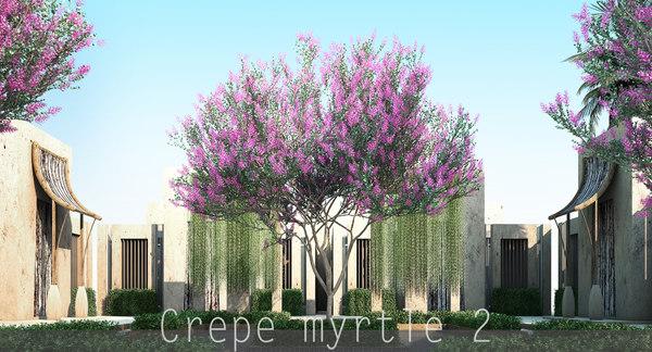 2 4 tree flowers 3d model