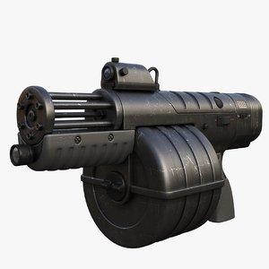 3d model fantastic machine gun