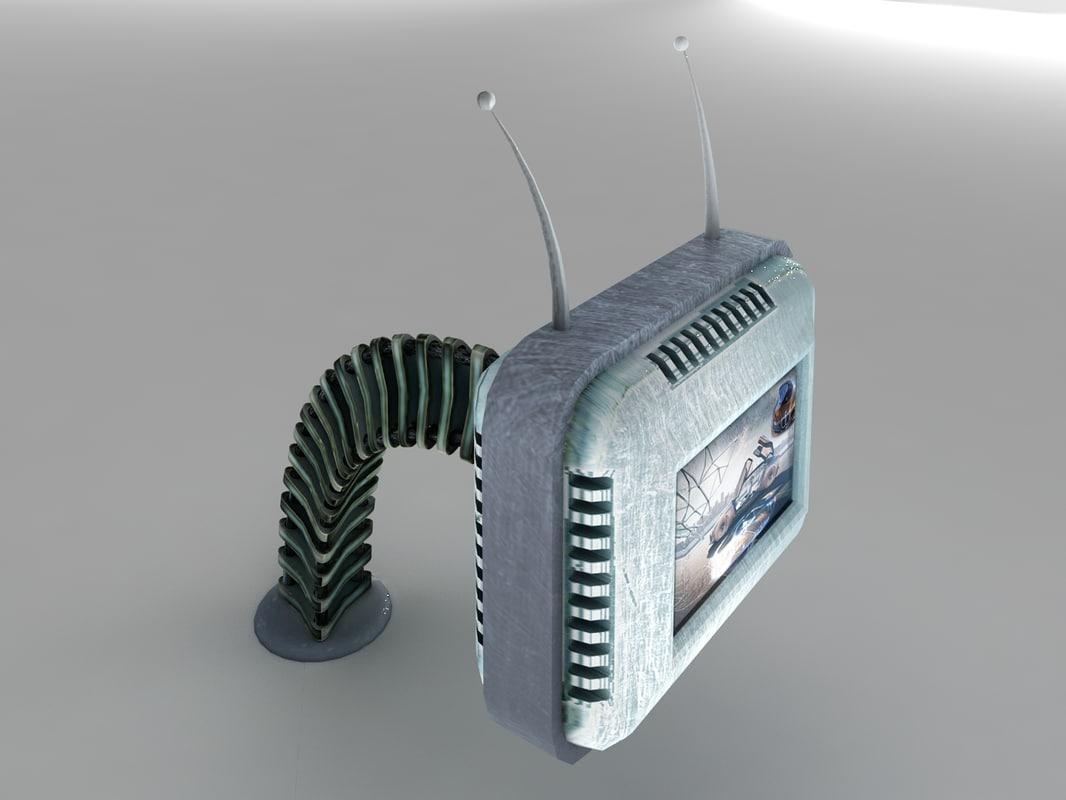 3d futuristic retro tv model