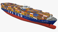 container ship cma danube 3d model