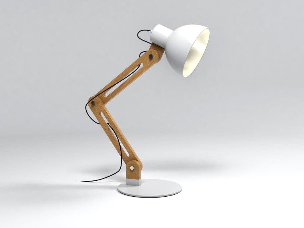 wooden lamp 3d 3ds